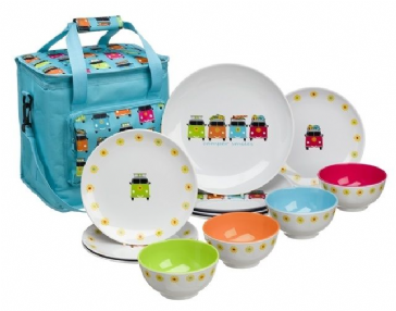 Camper Smiles 12 Pcs Melamine Set With 16 Ltr Cooler Bag